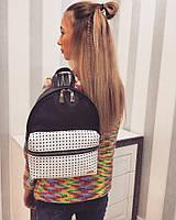 Рюкзак ткань- эко-кожа+ перфорация