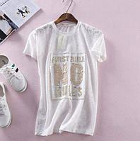 Ажурные футболки с вышивкой из пайеток