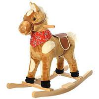 Качалка деревянная детская, лошадка, звуки, шевелит ушами M 0234-1