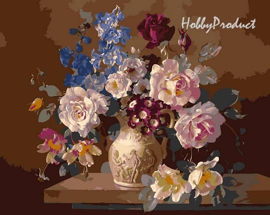 Набор-раскраска по номерам Цветы в скульптурной вазе худ. худ. Клейтон  Гарольд , фото 2