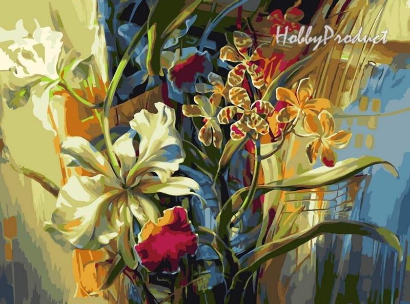 Набор-раскраска по номерам Нежные орхидеи  худ. Данн-Харр Ви