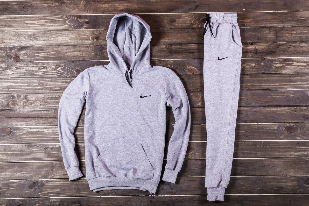 Весенний костюм спортивный Nike с капюшоном серый топ реплика