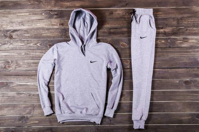 Весенний костюм спортивный Nike с капюшоном серый топ реплика, фото 2