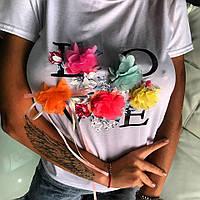 ФУТБОЛКА LOVE Коттон с эластином декорирована принтом и цветами HAND MADE