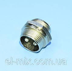 Разъем гарнитурный d16мм 2-pin, MIC-332, штекер монтажный  1-0403