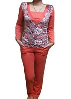 Пижама женская домашняя хлопковый комплекткофта с брюками из интерлока