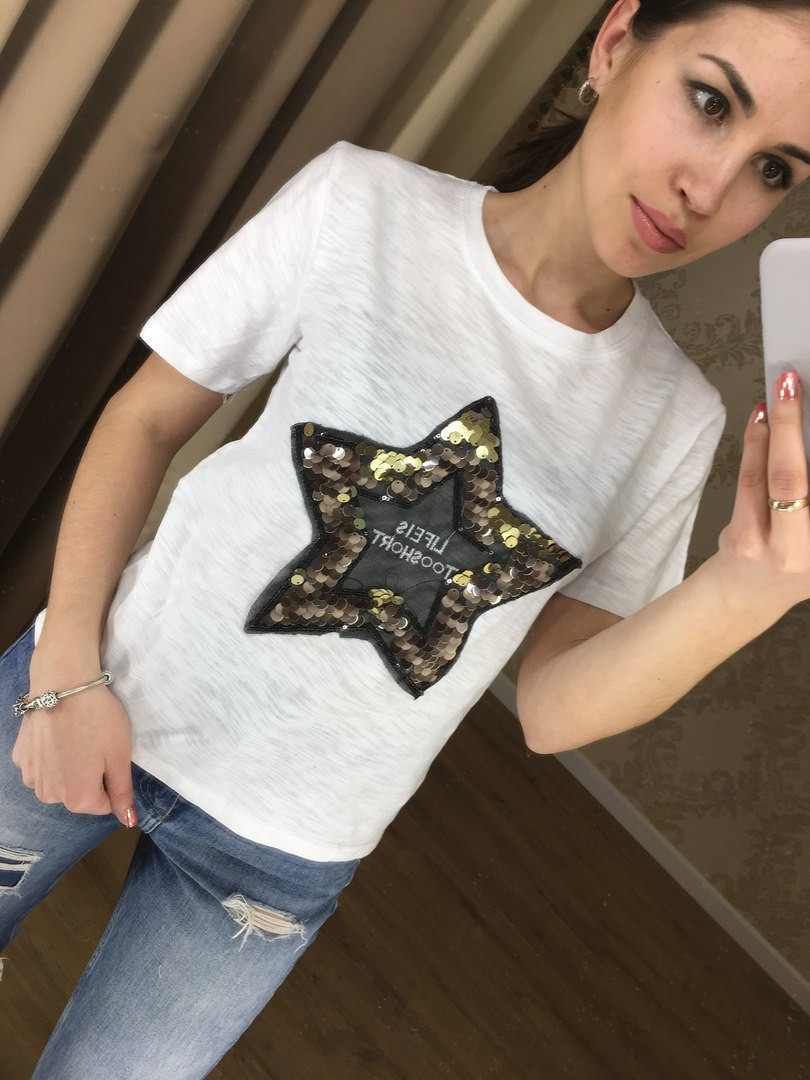 Футболка звезда паетки