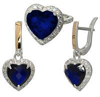 """Серебряное кольцо и серебряные серьги - легендарные украшения """"Сердце Океана""""с темно-синими фианитами, фото 1"""