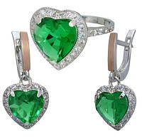 """Серебряное кольцо и серебряные серьги - легендарные украшения """"Сердце Океана"""" с зелёными фианитами"""