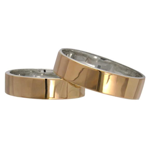 """(Пара) Серебряные обручальные кольца с золотыми вставками """"Американка"""""""