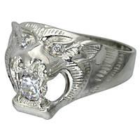 """Серебряный перстень """"Оскал Тигра"""" - вставка фианит, серебро 925 пробы с видеообзором"""