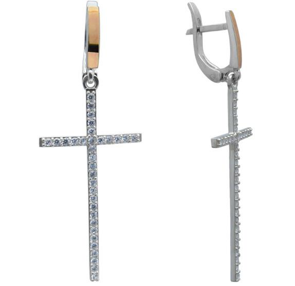 """Серебряные серьги в форме крестика """"Аватария"""" - с фианитами и золотыми накладками"""