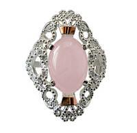 """Серебряное кольцо с золотыми накладками вставка розовый кварц """"Джамала"""""""