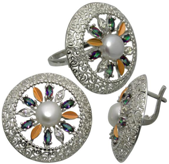 """Серьги и кольцо - серебряный набор с золотыми накладками """" Колесо Фортуны"""" для любимицы судьбы"""