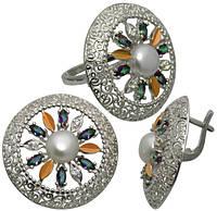 """Серьги и кольцо - серебряный набор с золотыми накладками """" Колесо Фортуны"""" для любимицы судьбы, фото 1"""