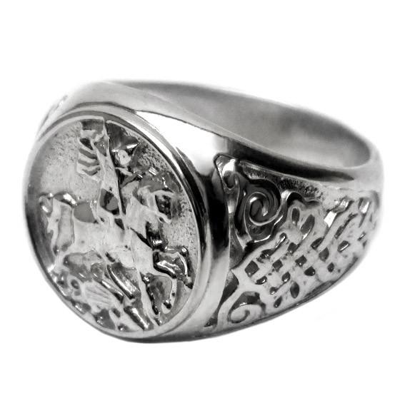 Серебряный перстень Георгий Победоносец - стильное мужское кольцо с глубоким смыслом