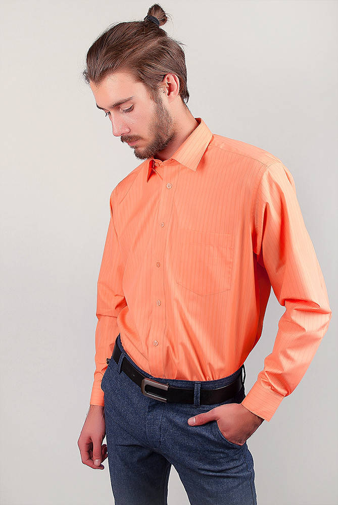 Рубашка яркая атласная Fra №875-13 (Апельсиновый)