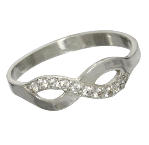"""Серебряное кольцо с фианитами """"Бесконечность"""""""