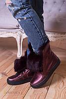 Артикул 070.Зимние ботинки с отворотом на меху из натурального кролика