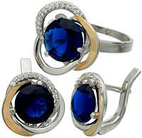"""Серьги и кольцо - серебряный набор с золотыми накладками """"Цвет Розы"""", фото 1"""