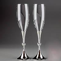 Оригинальные бокалы под шампанское для молодоженов на мельхиоровой ножке