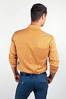 Рубашка мужская в мелкую клетку №94F089 (Горчичный)