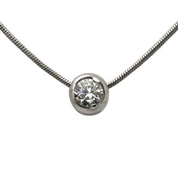 Серебряный кулон с цепочкой - кулон из серебра сфианитом и серебряная цепочка