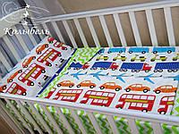 """Комплект сменного постельного в детскую кроватку, польский хлопок """"Все виды транспорта"""""""