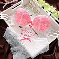 Белье - набор кружевной белый с розовым