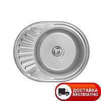 Кухонная мойка овальная врезная Imperial 6044_0,8 мм сатин глубина 18 см Бесплатная доставка