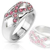 Кольцо с розовой лентой из камней R-M2704