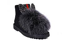 """Зимние женские ботинки """"Ушки"""" (серые) Shang № 584"""