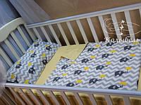 """Комплект сменного постельного в детскую кроватку, польский хлопок """"Слоник под зонтиком"""""""