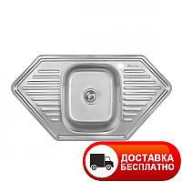 Кухонная мойка Imperial врезная угловая 9550D_08 мм декор глубина 18 см Бесплатная доставка