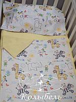 """Комплект постельного в кроватку для новорожденных, польский хлопок """"Рисунок в тетраде"""""""