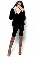Коротке кашемірове чорне пальто Amanda (S)