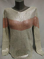 Стильный свитер женский с эффектом блеска