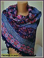Женкий платок синий розовый голубой белы цветы.Цветочный принт.кант с кисточками.размер110/110 Пэчворк