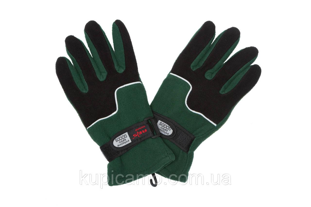 """Перчатки флисовые """"REIS"""" ветрозащитные на липучке -20 """"Черный/Зеленый"""""""