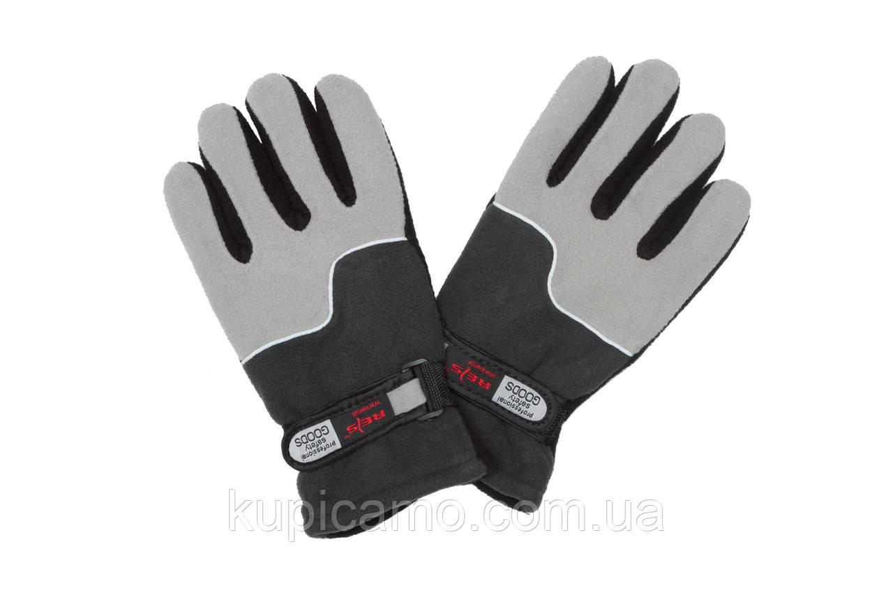 """Перчатки флисовые """"REIS"""" ветрозащитные на липучке -20 """"Серый/Черный"""""""