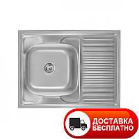 Мойка кухонная накладная 8060 сатин (матовая) Imperial 0,8 мм глубина 18 см Бесплатная доставка