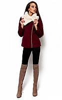 Коротке кашемірове марсалове пальто Amanda