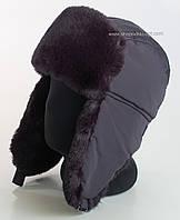 Теплая шапка-ушанка мужская темно-синего цвета