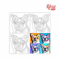 Холст на картоне с контуром Pop Art Dog 30х30 Rosa Start 203