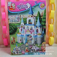 Конструктор Замок Принцессы SLUBAN Розовая мечта,фигурки,815дет,в коробка 38-57-9см