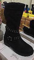 Чёрные зимние сапожки сапожки для девочек Размеры 31-36