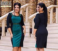 Платье до колен  с 3/4  рукавом пояс и зона декольте усыпана камнями  Красный+черный..зеленая бирюза +черный