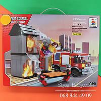 Конструктор AUSINI Пожарная машина, дом, фигурки, носилки, 374дет, в кор-ке,41-30,5-6см