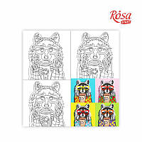 Холст на картоне с контуром Pop Art Raccoon 30х30 Rosa Start 037