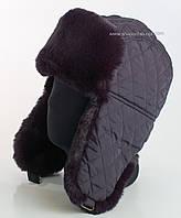 Мужская шапка-ушанка темно-синего цвета из стеганной плащевки